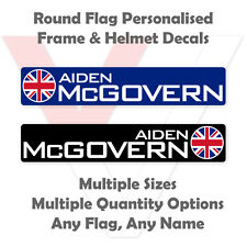 Round Flag Personalised Bike Frame and Helmet Stickers - Name Decals - Opaque