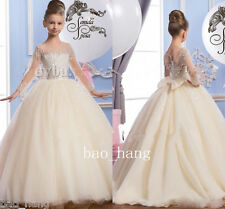 Luxury Flower Girl Dresses Sparkly Beads Sequins Girls Pageant Party Puffy Gowns