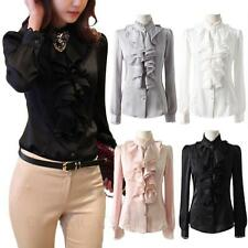 Lace Ruffle Long Sleeve sexy shirt womens ladies Vintage blouse Button Top Size