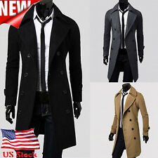 Fashion Winter Mens Slim Trench Coat Double Breasted Long Jacket Parka DUST COAT