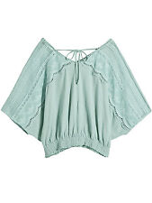 Next Green Boho Gypsy Scalloped Crochet Top with Batwing Sleeves