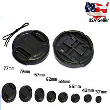 Front Lens Cap Snap-on Cover for Canon Nikon Olympus Sony Camera w/ String