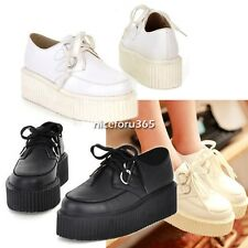 Women Lace UP Flat Shoes High Platform Creepers Punk Goth Synthetic N4U801