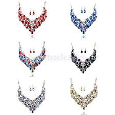 Women Pendant Chain Crystal Choker Chunky Statement Bib Necklace Dangle Earrings