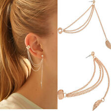 Chic Women Punk Rock Leaf Chain Tassel Dangle Cuff Wrap Earring Ear Stud TB