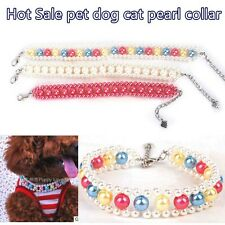 Fashion Dog Pet Collar Pearls Necklace Adjustable For Puppy Dog Cat Jewelry
