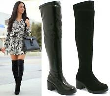 WOMENS OVER THE KNEE PLATFORM BOOTS MID BLOCK HEEL STRETCH CALF BOOTS SHOES SIZ