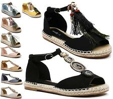 WOMENS LADIES T-BAR DIAMANTE JEWEL ESPADRILLES SHOES PEEPTOE SANDALS FLATS SIZE