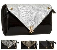 WOMENS GIRLS FAUX PATENT SNAKE GOLD CHAIN ENVELOPE EVENING CLUTCH PROM PARTY BAG