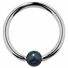 Peacock Pearl 14k White Gold Captive Bead Ring Cartilage Nipple Belly Piercing