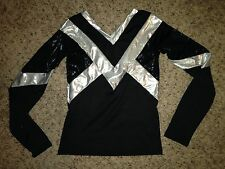 Motionwear Black Metallic Silver Dance CHEER Cheerleading Top Child Girls 6-7