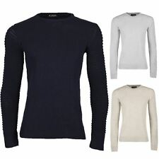 Mens Crew Neck Ribbed Biker Long Sleeve Plain Knitted Casual Pullover Jumper Top