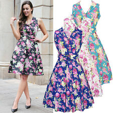 Hepburn Pin Up Housewife Party 50s Rockabillly Style Floral Print Retro Dress