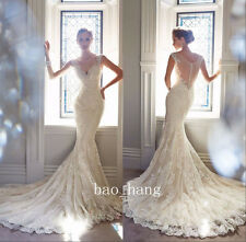 Lace Mermaid Wedding Dresses V Neck Sheer Back Beads New Bridal Gown White Ivory