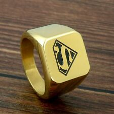 Golden Superman Hero Mens Ring Fashion Jewelry Stainless Steel Band Size 8-12