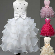 Toddler Girls Sundress Nail Bead Bow Dress Wedding Party Pageant Layered Dresses
