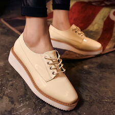 Brogues Womens Lace Up Platform Wedges Oxfords Casual Leather Comfort Lady Shoes