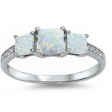 Sterling Silver 925 CZ Opal 3 Stone Princess Cut Engagement Promise Ring 4-10