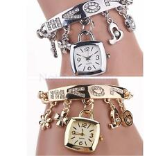 Exquisite Women Heart Flower Charm Pendant Bracelet Quartz Wrist Bangle Watch