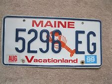 Natural 1999 Maine Lobster License Plate 5296 EG - Vacationland