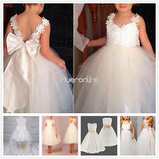 Lace Tulle Flower Girl Ball Gown Wedding Birthday Princess Bridesmaid Dresses