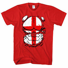 Ripped Tshirt England Flag Body T Shirt Funny St Georges Day Muscle Man Top L46