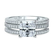 Silver Princess Cubic Zirconia CZ Solitaire Engagement Ring Set 2.37 CT