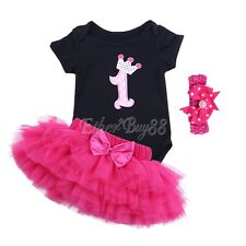 3PCS Baby Girls 1st Birthday Party Romper Headband Tulle Skirt Dress Outfits Set
