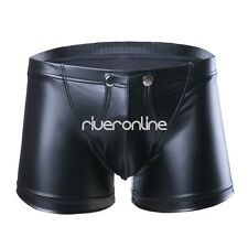Sexy Mens Lingerie Faux Leather Boxer Briefs Shorts Underwear Buttons Trunks
