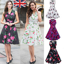 Womens 50s Rockabilly Style Floral Cocktail Swing Skirt Dress Plus Size 8-18-20
