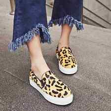 New Womens Leopard Pattern Low Heels Loafers Fashion Sneakers Casual Shoes Suede