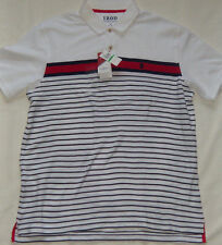 New Men's IZOD White Striped Performance The Advantage Polo Short Sleeve $50