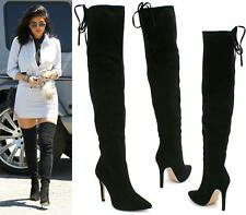 WOMENS OVER THE KNEE THIGH HIGH STILETTO HEEL STRETCH DRAWSTRING CALF BOOTS SIZE