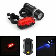 WATERPROOF BRIGHT 5 LED BIKE BICYCLE HEAD & REAR LIGHTS LIGHT 7 MODES WIDE EH