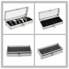 6 Grid Slots Jewelry Watches Display Storage Box Case Aluminium Watch Box Lot EH