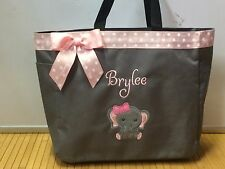 Cute Personalized Diaper Bag Tote Monogrammed Baby Elephant Girl