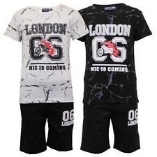 Boys T Shirt Shorts Set Kids Crew Neck Short Sleeved London Print Casual Summer