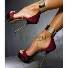 Womens Stiletto High Heel Sandal Metal Ankle Strap Suede Leather Party Shoe Sexy