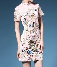 Short-Sleeved Cheongsam Short Slim Embroidery Chinese Style Gown Womens Dress