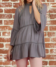 NWT Boutique Umgee Lace Keyhole Top - Grey - Small, Medium & Large, XL, 1X, 2X
