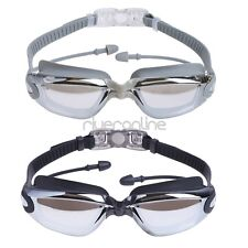 Adult Clear Silicone Anti-fog Swim Goggles Glasses Swimming Ear Plugs Nose Clip