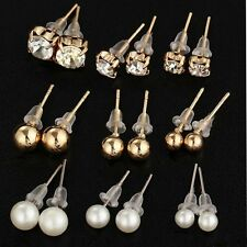 9 Pairs Wholesale Bulk Crystal Pearl Ear Stud Earrings Set Women Wedding Jewelry