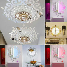 3D Home Decoration Feather Mirror Wall Sticker Room Decal Mural Art DIY Hot