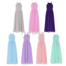 Flower Girls Halter Dress Princess Wedding Pageant Party Chiffon Tulle Gown 4-14