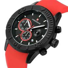 Mens Date Day Chronograph Watch Wrist Silicone Quartz Band Sport Student's Watch