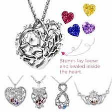 Caged Heart Owl Claddagh Crystal Birthstones Inside Locket Pendant Necklace Gift