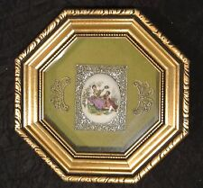 Vintage Octagonal Gold Wood Frame with  with Ceramic Medallion Courting Couple