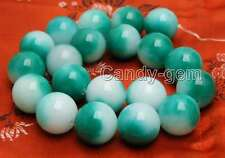 Big 20mm Round White & Green jade Loose Beads strand 15'' for jewelry making-746