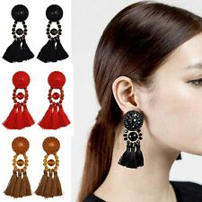 Fashion Boho Stud Earrings Women Vintage Long Tassel Fringe Beads Dangle Jewelry