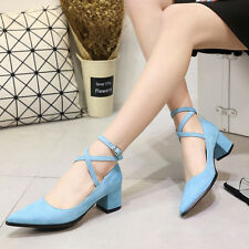 Chic Womens Ankle Strappy Block Kitten Heels Pumps Faux Suede Pointed Toe Shoes